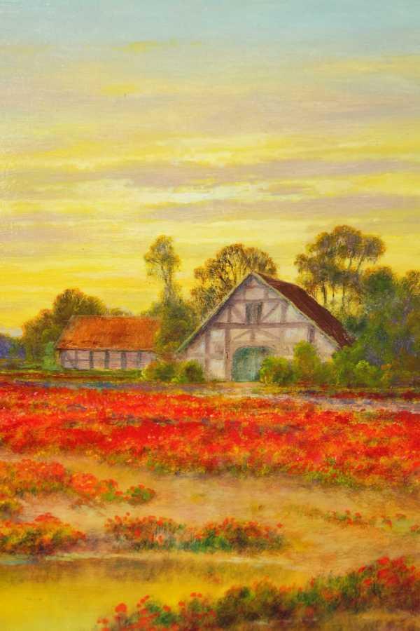 Dieste Hermann *1931 Dortmund Landschaft Bauernhof Mohnfeld Mohn ...